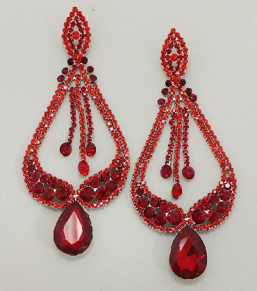 RED Extra Large Pageant Earrings image 1