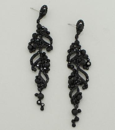 Black Drop and Dangle Rhinestone Pageant Earrings image 1