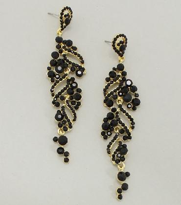 Black and Gold Rhinestone Pageant Earrings image 1