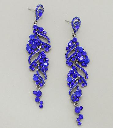 Blue Rhinestone Dangle Pageant Earrings image 1