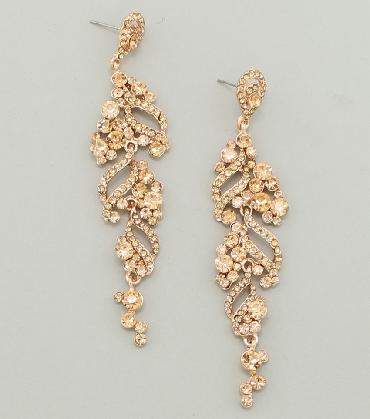 Peach / rose gold rhinestone pageant earrings image 1