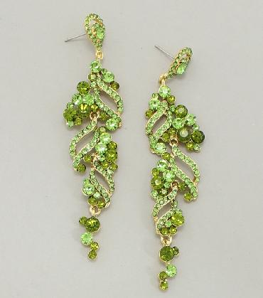 Green Dangle Pageant Earrings image 1
