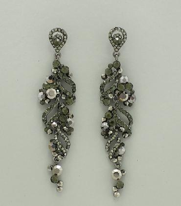 Gunmetal / Grey Rhinestone Long Pageant Earrings image 1