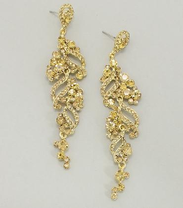 Gold Dangle Pageant Earrings image 1