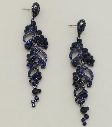 Navy Blue Dangle Pageant Earrings image 1