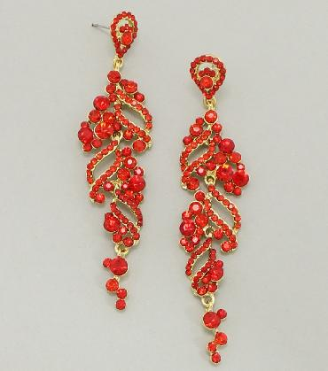 Red / Gold Rhinestone Dangle Pageant Earrings image 1