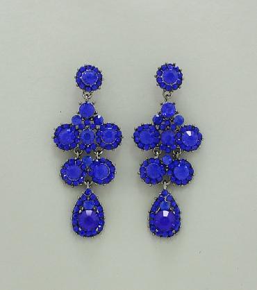 Blue Rhinestone Drop Earrings image 1