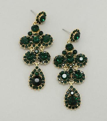 Emerald Green Drop Prom Earrings image 1
