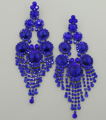 Blue Oversized Pageant Earrings, Blue Rhinestone Extra Large Earrings image 1