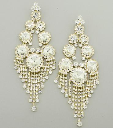 Oversized Clear/Gold Earrings image 1