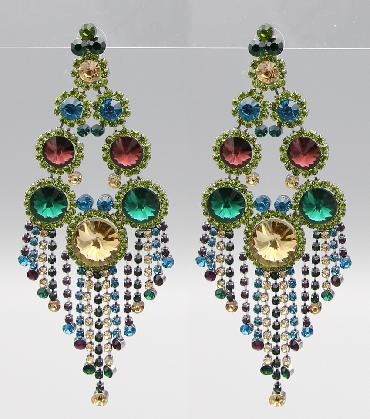 Green MultiColor Oversized Statement Pageant Earrings image 1