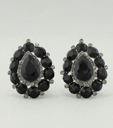 Black Clip On Earrings image 1