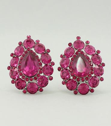 Hot Pink/Fuschia Clip On Earrings image 1