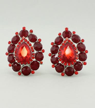 Red Clip On Pageant Earrings image 1
