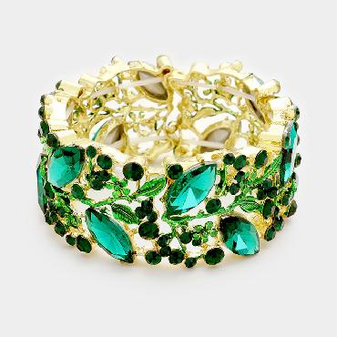 Emerald Green Wide Stretch  Pageant Braclet image 1