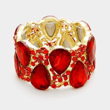 Red Rhinestone Wide Bracelet image 1