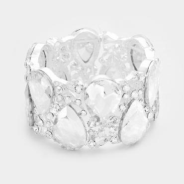 Clear Crystal Wide Pageant Bracelet image 1