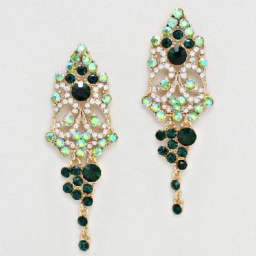 Green Dangle Chandelier Earrings image 1