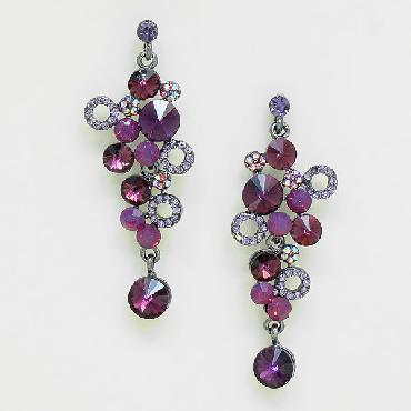 Purple Rhinestone Dangle Earrings image 1