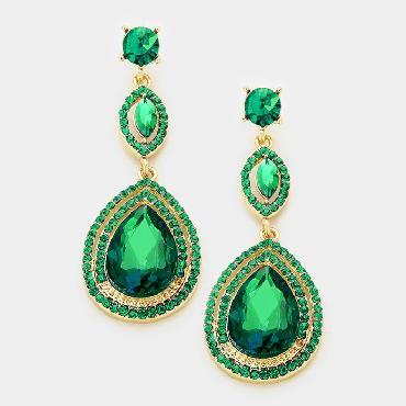 Green Rhinestone Dangle Earrings image 1