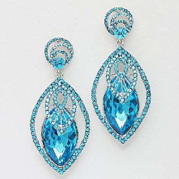 Teal Blue/ Aqua Rhinestone Pageant Earrings image 1