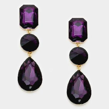 Purple large crystal dangle pageant earrings image 1
