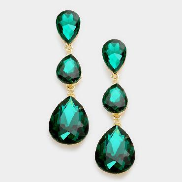 Green Large crystal Drop Earrings image 1