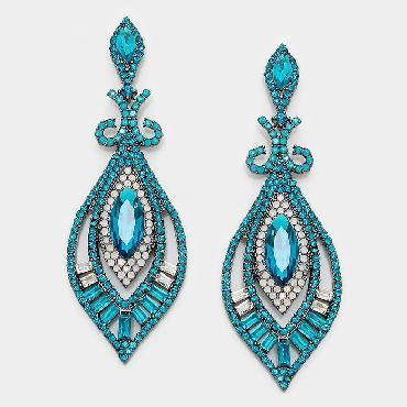 Teal and White Rhinestone Drop Earrings image 1