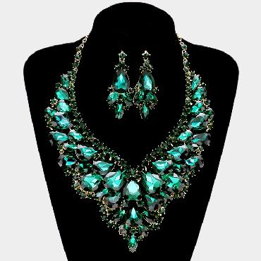 Emerald Green Necklace Set image 1