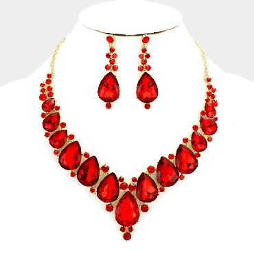 Red Statement Crystal Rhinestone Necklace Set image 1