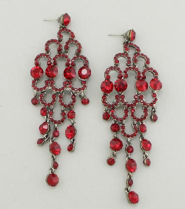 Ruby Red Rhinestone Pageant Earrings image 1