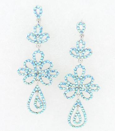 Light Blue Rhinestone Earrings, Teal Blue Earrings image 1