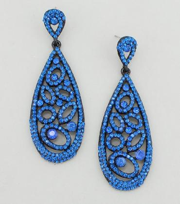 Blue Large Dangle Pageant Earrings image 1
