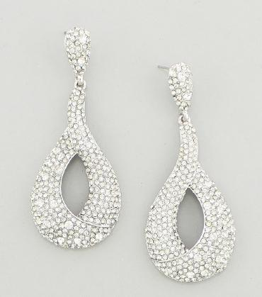 Clear Drop Hoop Earrings image 1