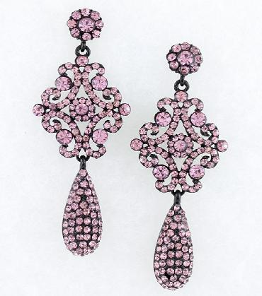 Purple Paved Pageant Earrings image 1