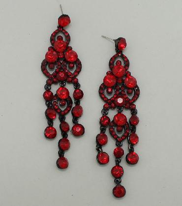 Deep Red Dangle Chandelier Pageant Earrings image 1