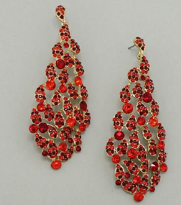Long Red Pageant Earrings image 1