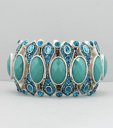 Turquoise and Teal Blue Wide Pageant Bracelet image 1