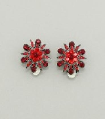 Small Red Clip On Earrings image 1