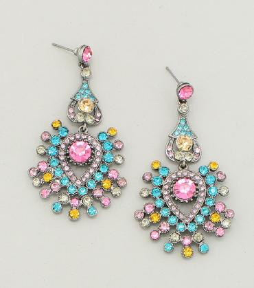 Pastel Multi Color Rhinestone Earrings, Prom multi color earrings image 1
