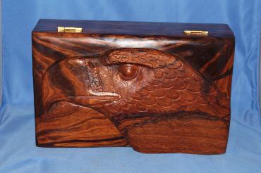 Image of Ironwood box - eagle head - large