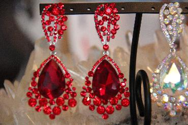 Red Chunky Rhinestone Pageant Earrings image 1