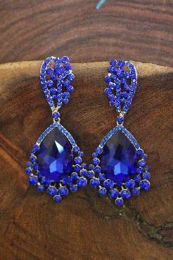 Blue Chunky Earrings image 1