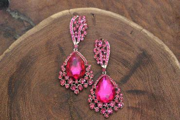 fuchsia pink chunky earrings image 1