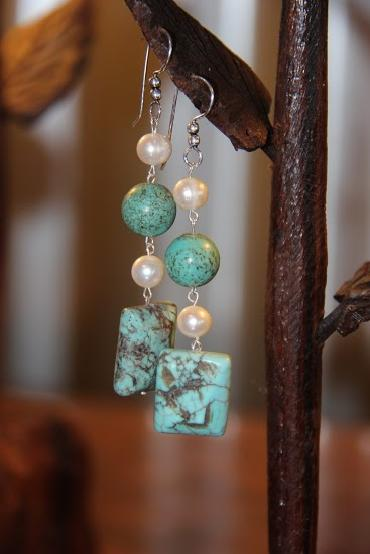 Image of Pearl and Magnesite Earrings