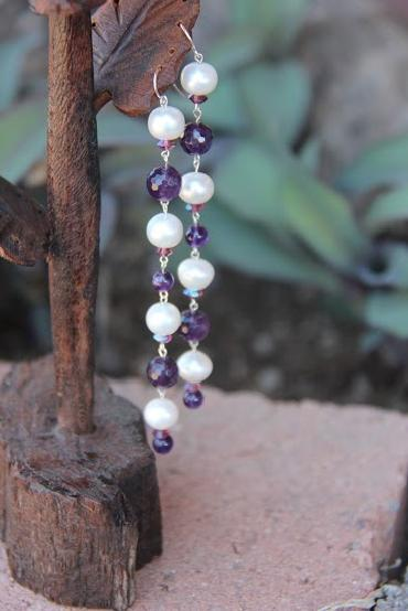 Image of Sterling Silver Pearl and Amethyst Earrings