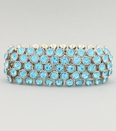 Teal Blue / Aqua Rhinestone Bracelet image 1