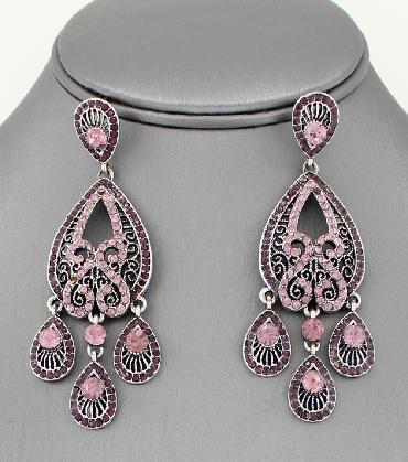 Purple and Pink Rhinestone Earrings image 1