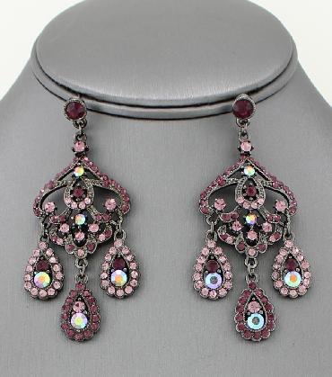 Purple Chandelier Pageant Earrings image 1