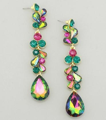 Multi Color Drop Earrings, Emerald Green multi crystal Pageant Earrings image 1